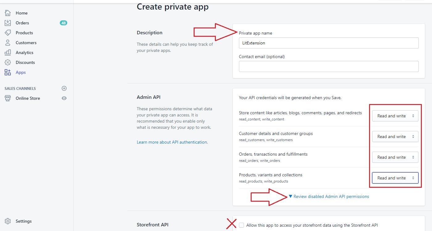 get shopify API password